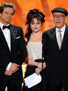 Colin Firth, Helena Bonham Carter, and Geoffrey Rush speak onstage about &#8220;The King&#8217;s Speech&#8221; during the 17th Annual Screen Actors Guild Awards held at The Shrine Auditorium, Los Angeles, January 30, 2011