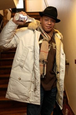 Terrence Howard drinks a HINT water at the Variety Studio at the 2011 Sundance Film Festival