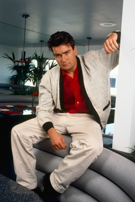Charlie Sheen poses for a portrait in Malibu, Aug. 2, 1990