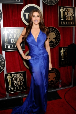 """Modern Family"" star Sofia Vergara arrives at the 17th Annual Screen Actors Guild Awards held at The Shrine Auditorium in LA on January 30, 2011"