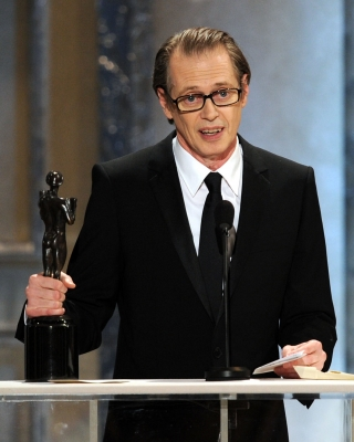 "Steve Buscemi, winner of Outstanding Performance by a Male Actor in a Drama Series award for ""Boardwalk Empire,"" speaks onstage during the 17th Annual Screen Actors Guild Awards at The Shrine Auditorium, LA, Jan. 30, 2011"