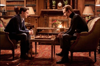 "James McAvoy and Michael Fassbender star as Professor X and Magneto in ""X-Men: First Class"""