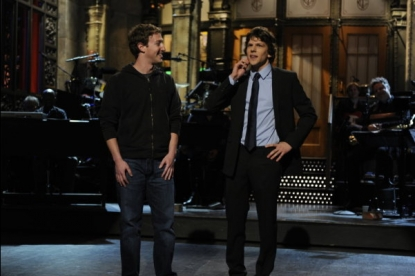 "Mark Zuckerberg and Jesse Eisenberg on ""Saturday Night Live"" on January 29, 2011"