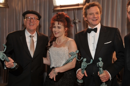 &#8220;The King&#8217;s Speech&#8221; stars Geoffrey Rush, Helena Bonham Carter and Colin Firth pose backstage with their awards at the 17th Annual Screen Actors Guild Awards held at The Shrine Auditorium on January 30, 2011 in Los Angeles