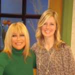 Suzanne Somers with Glam Slam's Ryan Patterson on the set of Access Hollywood Live