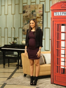 The lovely Tia Mowry shows off her baby bump on the set of Access Hollywood Live on January 31, 2011