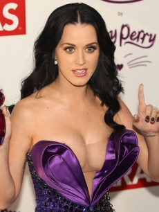 Katy Perry poses for photos at the purple carpet of a party following the presentation of her fragance called Purr in Mexico City on February 5, 2011