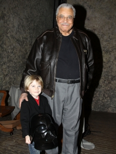 "James Earl Jones poses with six year-old Max Page (star of Volkswagen's Darth Vader themed Super Bowl commercial) backstage at ""Driving Miss Daisy"" on Broadway at the Golden Theatre in New York City on February 7, 2011"