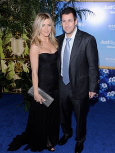 Jennifer Aniston and Adam Sandler attend the premiere of 'Just Go With It' at Ziegfeld Theatre on February 8, 2011 in New York City.