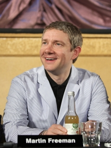 "Martin Freeman who plays Bilbo in the movie, speaks to the media alongside co-star Richard Armitage (right) during a press conference for ""The Hobbit: Part 1"" at the Park Road Post Production Centre, Wellington, New Zealand, February 11, 2011"