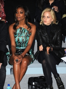 Gabrielle Union and Mena Suvari sit front row at the the Christian Siriano Fall 2011 show at Mercedes-Benz Fashion Week  in New York City on February 10, 2011