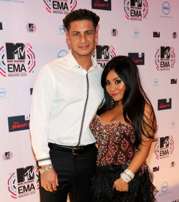 """Jersey Shore"" stars Pauly D and Snooki attend the MTV Europe Music Awards 2010 at La Caja Magica on November 7, 2010 in Madrid, Spain"