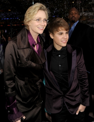 Jane Lynch and Justin Bieber arrive at the premiere of Paramount Pictures&#8217; &#8220;Justin Bieber: Never Say Never&#8221; held at Nokia Theater L.A. Live, Los Angeles, February 8, 2011