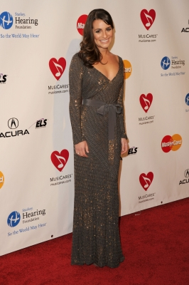 Lea Michele arrives at the 2011 MusiCares Person of the Year Tribute to Barbra Streisand held at the Los Angeles Convention Center on February 11, 2011