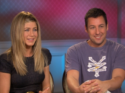 "Jennifer Aniston and Adam Sandler chat with Access Hollywood at the junket for ""Just Go With It"" in Los Anegeles on January 31, 2011"