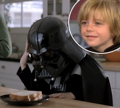 Max Page, the boy behind the Darth Vader helmet in Volkswagen's 2011 Super Bowl commercial