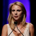 Journalist Lara Logan speaks on stage during the 33rd Annual American Women In Radio & Television Gracie Allen Awards at the Marriott Marquis, NYC, May 28, 2008
