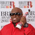 Cee Lo Green hits the red carpet with his award for Best International Male Solo Artist at the BRIT Awards 2011 at the O2 Arena in London on February 15, 2011