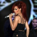 Rihanna performs during the 2011 NBA All-Star game halftime show at Staples Center in Los Angeles on February 20, 2011 