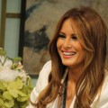 Melania Trump stops by Access Hollywood Live to show off new pieces from her jewelry line on February 24, 2011