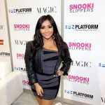 "Nicole ""Snooki"" Polizzi promotes her Snooki Slippers line at the MAGIC clothing industry convention at the Las Vegas Convention Center, Las Vegas, February 15, 2011"