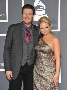 Blake Shelton and Miranda Lambert arrive for the 53rd Annual Grammy Awards at the Staples Center in Los Angeles on February 13, 2011