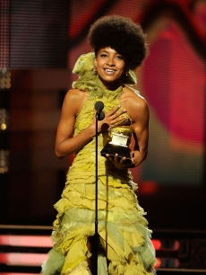 Esperanza Spalding expresses gratitude as she wins the coveted Best New Artist Award at the 53rd Annual Grammy Awards on February 13, 2011
