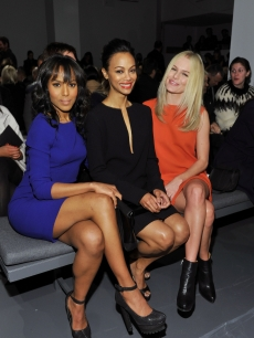 Kerry Washington, Zoe Saldana and Kate Bosworth attend the Calvin Klein Fall 2011 fashion show during Mercedes-Benz Fashion Week at 205 West 39th Street in New York City on February 17, 2011