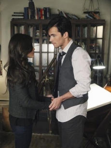 "Aria (Lucy Hale) and Ezra (Ian Harding) on ""Pretty Little Liars"" on ABC Family, 2011"