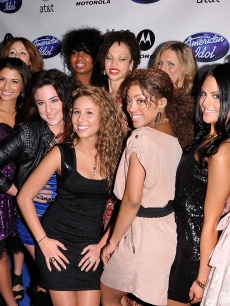 "The top 12 ""American Idol"" Season 10 female contestants Rachel Zevita, Karen Rodriguez, Tatynisa Wilson, Naima Adedapo, Kendra Campbell, Lauren Alaina, Thia Megia, Pia Toscano, Ashthon Jones, Haley Reinhart, Lauren Turner and Juliana Zorilla arrive at Idol Prom: The ""American Idol"" Season 10 Top 24 Debut event at the Roosevelt Hotel in Hollywood, Calif., on February 24, 2011"