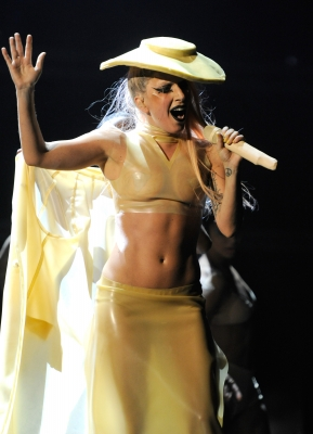 Lady Gaga performs onstage during The 53rd Annual Grammy Awards held at Staples Center in Los Angeles on February 13, 2011