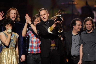 "Canadian indie rock band Arcade Fire won the Grammy for Album of the Year for ""The Suburbs"" at the 53rd Annual Grammy Awards on February 13, 2011"