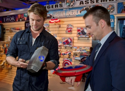 Chris Hemsworth and Chris Evans visit Hasbro's 2011 Toy Fair showroom in NYC, on February 15, 2011