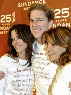 Matthew Modine is hugged by Parker Posey & Lili Taylor on the carpet
