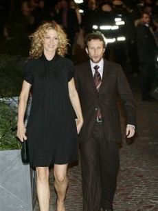 Jenna & Bodhi Elfman on their way to meet the happy couple