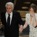 "Presenter Kirk Douglas shakes hands with Melissa Leo after Leo wins the Best Actress in a Supporting Role Oscar for ""The Fighter"" during the 83rd Annual Academy Awards held at the Kodak Theatre, Hollywood, Calif., on February 27, 2011"