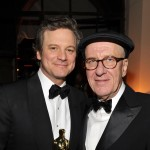"Best Actor winner Colin Firth his ""The King's Speech"" co-star Geoffrey Rush celebrate at The Weinstein Company Oscar party, in association with Ultimat Vodka, Hollywood, Feb. 27, 2011"