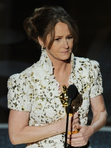 "An emotional Melissa Leo accepts the award for Best Actress in a Supporting Role for ""The Fighter"" onstage during the 83rd Annual Academy Awards held at the Kodak Theatre  in Hollywood, Calif., on February 27, 2011"