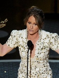 "Melissa Leo accepts the award for Best Actress in a Supporting Role for ""The Fighter"" during the 83rd Annual Academy Awards held at the Kodak Theatre, Hollywood, Calif., on February 27, 2011"