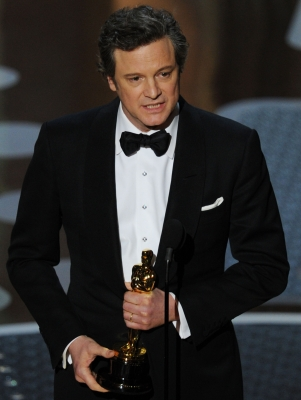 "Colin Firth accepts the award for Best Performance by an Actor in a Leading Role for ""The King's Speech"" onstage during the 83rd Annual Academy Awards held at the Kodak Theatre, Hollywood, Calif., on February 27, 2011"