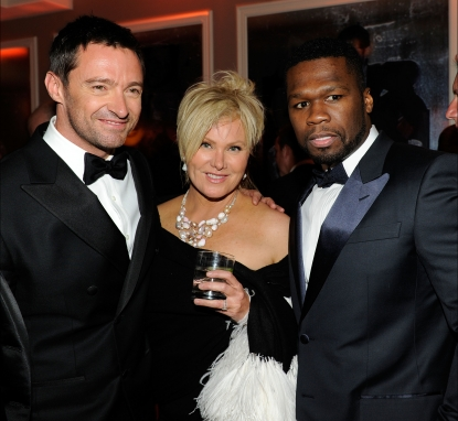 Hugh Jackman, Deborra-Lee Furness and 50 Cent attend the 2011 Vanity Fair Oscar Party Hosted by Graydon Carter at the Sunset Tower Hotel, West Hollywood, on February 27, 2011
