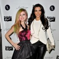 "Avril Lavigne and Kim Kardashian attend the release party for Avril Lavigne's new album ""Goodbye Lullaby"" at SL Lounge in NYC, on March 8, 2011"