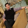 "Former ""American Pie"" star Jason Biggs gets comfortable on the set of Access Hollywood Live on March 14, 2011"