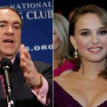 Former Arkansas Governor Mike Huckabee and Natalie Portman