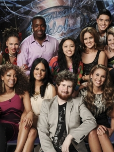 """American Idol's"" Top 13 2011: Bottom Row L-R: Paul McDonald, Ashthon Jones, Pia Toscano, Casey Abrams, Haley Reinhart and Scott McCreery. Top Row L-R: James Durbin, Naima Adedapo, Jacob Lusk, Thia Megia, Karen Rodriguez, Stefano Langone and Lauren Alaina"