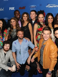 """American Idol"" Top 13 Finalists Lauren Alaina, Thia Megia, Haley Reinhart, Jacob Lusk, Karen Rodriguez, Scotty McCreery, Naima Adedapo, Pia Toscano, Ashthon Jones, Casey Abrams, Paul McDonald, James Durbin, and Stefano Langone attend FOX's ""American Idol"" Finalist Party in Los Angeles, Calif., on March 3, 2011"