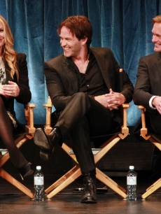 Anna Paquin, Stephen Moyer and Alexander Skarsgard sit on stage at PaleyFest 2011 presents &#8220;True Blood&#8221; at the Saban Theatre, Beverly Hills, on March 5, 2011