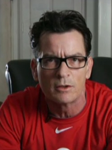 Charlie Sheen during his UStream message on March 8, 2011