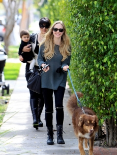 Amanda Seyfried takes her dog, Finn, to lunch at Urth Cafe in Los Angeles on March 12, 2011