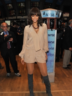 Tyra Banks visits the New York Stock Exchange in NYC, on March 15, 2011